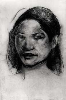 Head of a Tahitian (charcoal on paper) Kunsttrykk