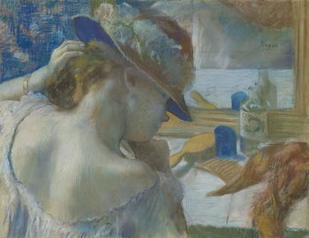 In Front of the Mirror, 1889 (pastel on paper) Kunsttrykk