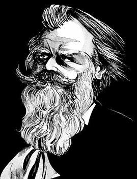 Johannes Brahms, German composer , grey tone watercolour caricature, 1996 by Neale Osborne Kunsttrykk