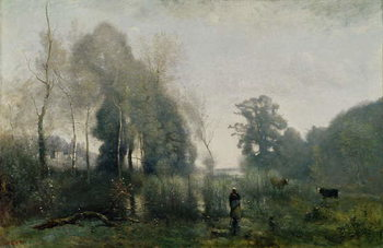 Morning at Ville-d'Avray or, The Cowherd, 1868 Kunsttrykk