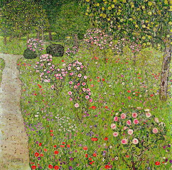 Orchard with roses Kunsttrykk