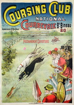 Poster advertising the opening of the Coursing Club at Courbevoie Kunsttrykk