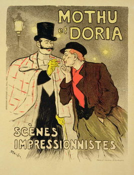 Reproduction of a poster advertising 'Mothu and Doria'in impressionist scenes, 1893 Kunsttrykk