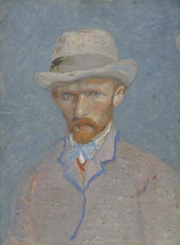 Self-Portrait with gray felt hat, 1887 Kunsttrykk