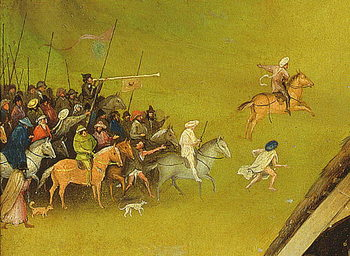 The Adoration of the Magi, detail of the background, 1510 (oil on panel) Kunsttrykk