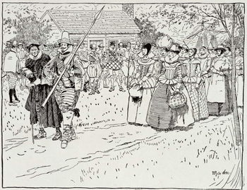 The Arrival of the Young Women at Jamestown, 1621, from Harper's Magazine, 1883 Kunsttrykk