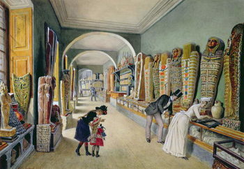 The Corridor and the last Cabinet of the Egyptian Collection in the Ambraser Collection of the Lower Belvedere, 1875 Kunsttrykk