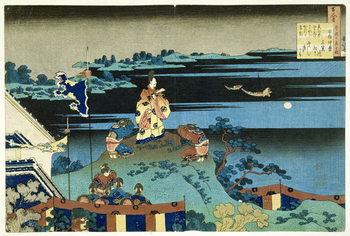 The Exiled Poet Nakamaro ('Abe no Nakamaro'), from the series '100 Poems Explained by the Nurse' ('Hyakunin isshu uba ga etoki') pub. c.1838, Kunsttrykk