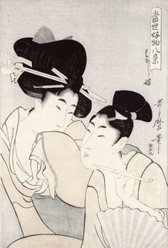 The pleasure of conversation, from the series 'Tosei Kobutsu hakkei' (Eight Modern Behaviours) c.1803 Kunsttrykk