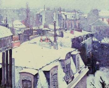 View of Roofs (Snow Effect) or Roofs under Snow, 1878 Kunsttrykk