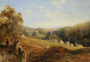Wetheral - View of the River Eden Showing Wetheral Church and Viaduct, and Corby Ferry, c.1845 Kunsttrykk