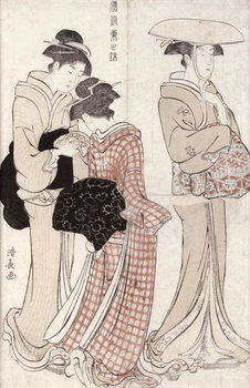 Young woman wearing a wide straw hat, followed by a servant and a companion carrying a 'furoshiki', from the series 'Fuzoku Azuma no nishiki' (The Fashionable Beauties of Edo) 1783 Kunsttrykk