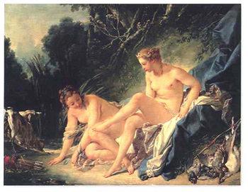 Diana Leaving Her Bath Kunsttrykk