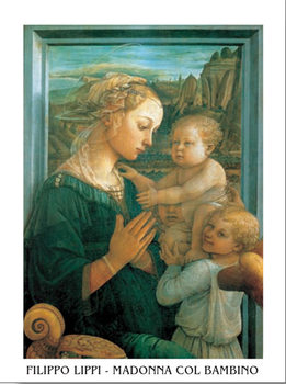 Madonna with Child and two Angels Kunsttrykk