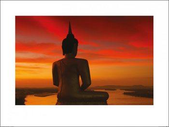 Stuart Meikle - Sun Setting over the Mekong Kunsttrykk