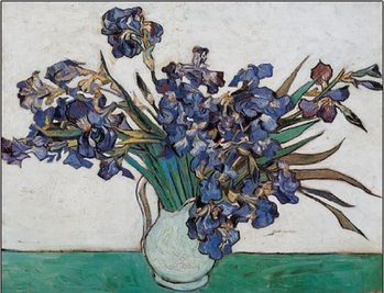 Vase with Irises, 1890 Kunsttrykk