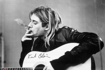 Kurt Cobain - smoking - плакат (poster)