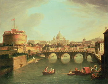 Billede på lærred A View of Rome with the Bridge and Castel St. Angelo by the Tiber