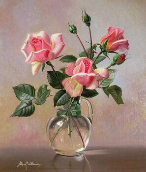 Billede på lærred AB69 Pink Roses in a Glass Jug