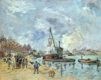 Billede på lærred At the Quay de Bercy in Paris, 1874