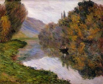 Boat on the Seine near Jeufosse, Billede på lærred