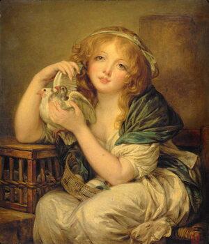 Billede på lærred Girl with the Doves (after Greuze)