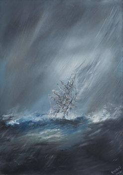 Billede på lærred HMS Beagle in Storm off Cape Horn 24th December1832. 2012,