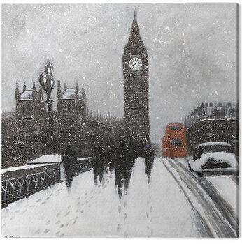 Jon Barker - Snow Men, Westminster Bridgeq Billede på lærred