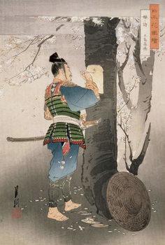 Billede på lærred Kojima Takanori Writing a Poem on a Cherry Tree,