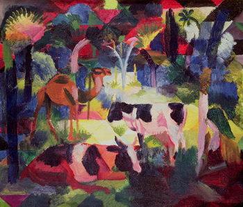 Billede på lærred Landscape with Cows and a Camel
