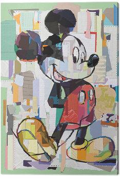 Mickey Mouse - Office Decoupage Billede på lærred