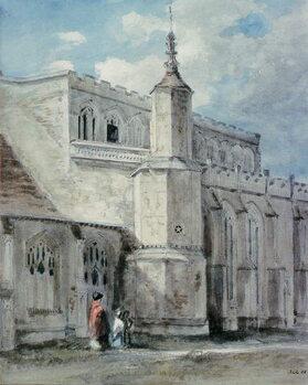 Billede på lærred Part of the Exterior of East Bergholt Church