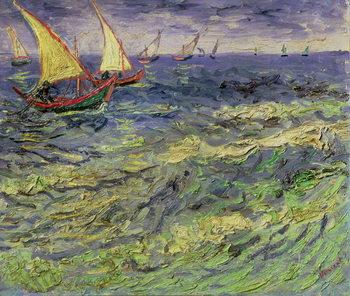 Seascape at Saintes-Maries (View of Mediterranean) 1888 Billede på lærred