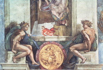 Sistine Chapel Ceiling: Ignudi Billede på lærred