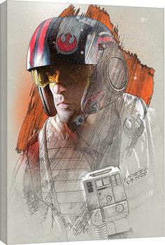 Star Wars: The Last Jedi -Poe Brushstroke Billede på lærred