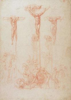 Study of Three Crosses Billede på lærred