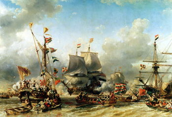 Billede på lærred The Embarkation of Ruyter and William de Witt in 1667, 1850-51