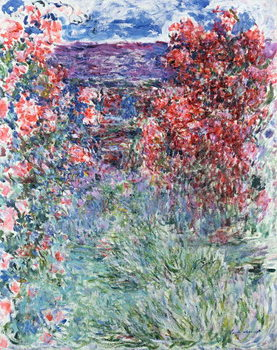 Billede på lærred The House at Giverny under the Roses, 1925