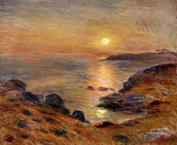 Billede på lærred The Setting of the Sun at Douarnenez; Couche de Soleil a Douarnenez, 1883