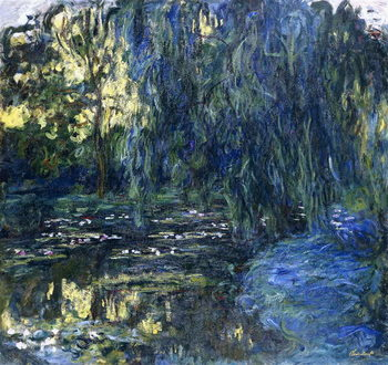 View of the Lilypond with Willow, c.1917-1919 Billede på lærred