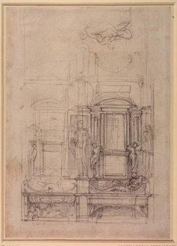 W.26r Design for the Medici Chapel in the church of San Lorenzo, Florence Billede på lærred