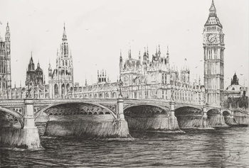 Billede på lærred Westminster Bridge London, 2006,