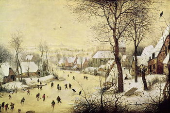 Winter Landscape with Skaters and a Bird Trap, 1565 Billede på lærred