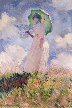 Woman with Parasol turned to the Left, 1886 Billede på lærred