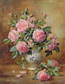 A Medley of Pink Roses Billede på lærred