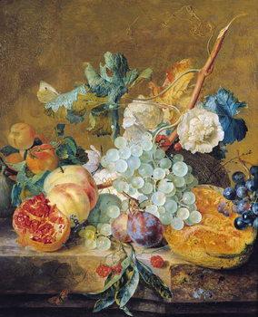 Flowers and Fruit Billede på lærred