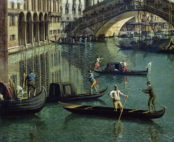 Gondoliers near the Rialto Bridge, Venice (oil on canvas) Billede på lærred