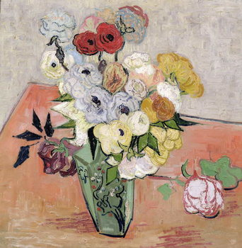 Japanese Vase with Roses and Anemones, 1890 Billede på lærred