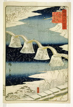 Kintai bridge in the snow, from the series 'Shokoku Meisho Hyakkei', Billede på lærred