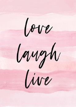 Love Laught Quote Pink Billede på lærred